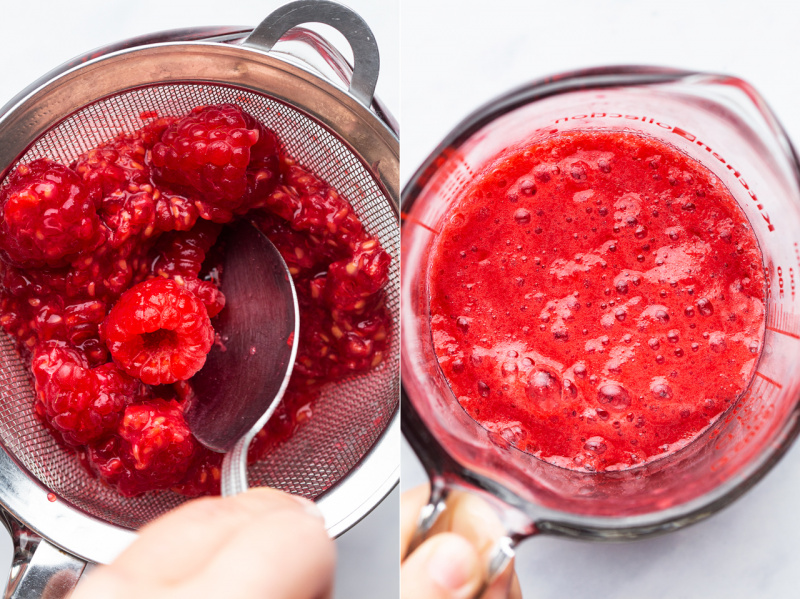 vegan raspberry mousse pressing raspberries