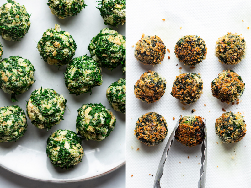 vegan spinach balls before after