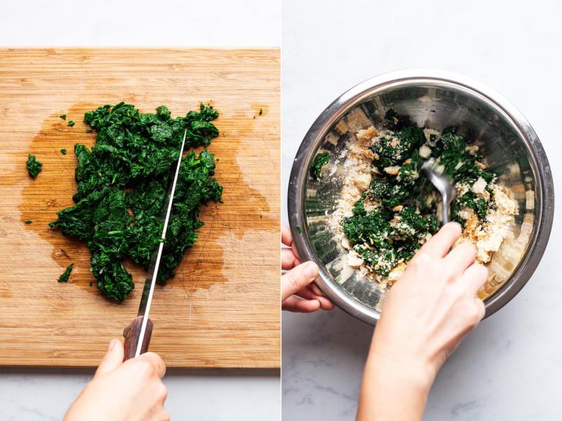 vegan spinach balls mixture