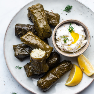 vegan stuffed grape leaves portion
