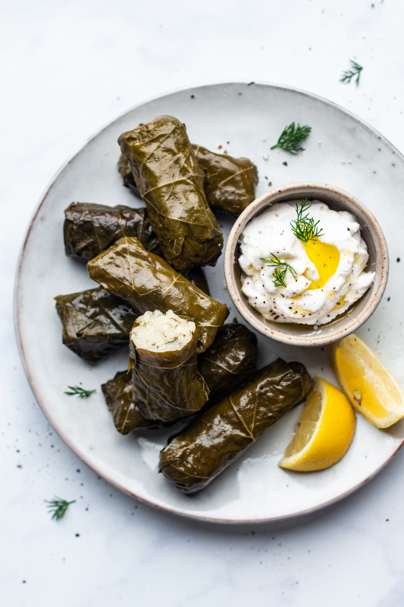 dolmades greek stuffed vine leaves portion