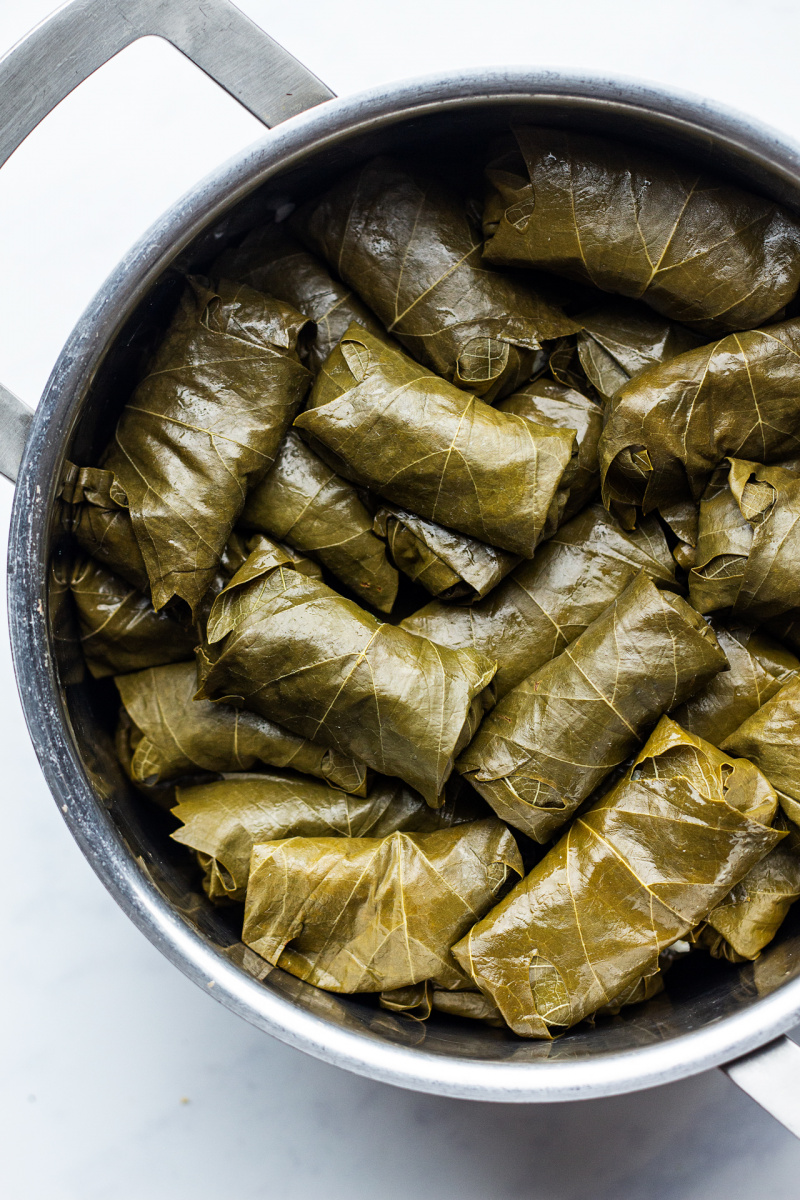 dolmades greek stuffed vine leaves pot