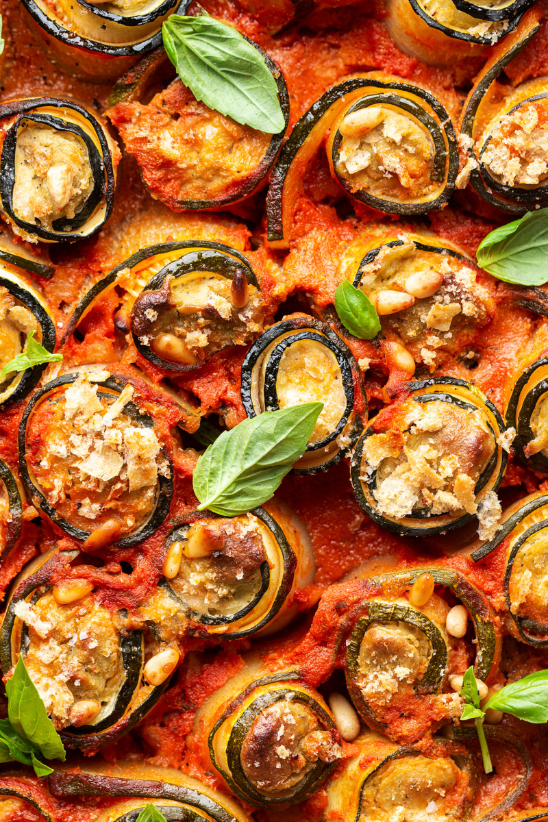 vegan zucchini involtini close up