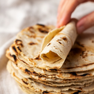 corn tortillas rolled up