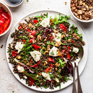 lentil roast pepper salad