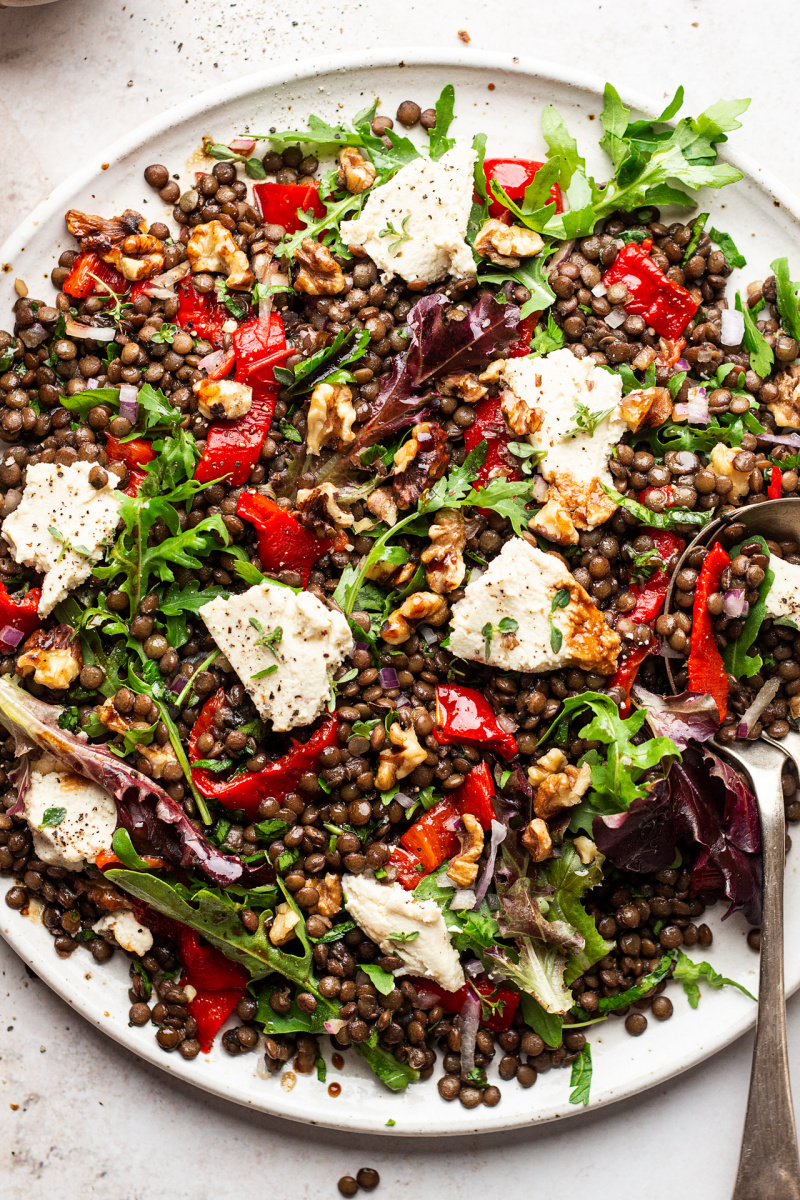 lentil roast pepper salad close