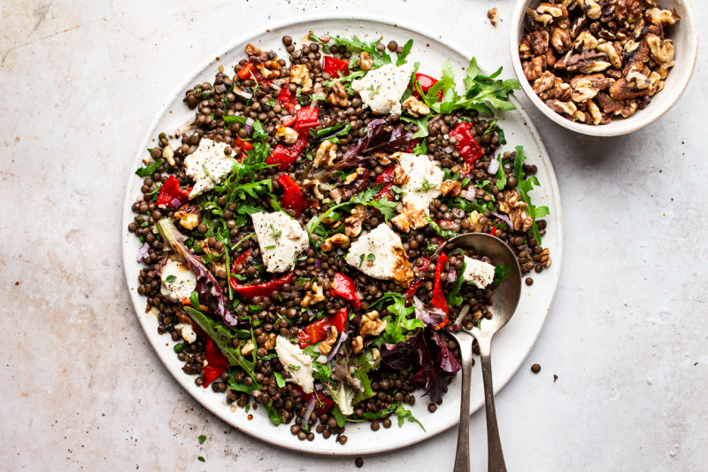 lentil roast pepper salad horizonal