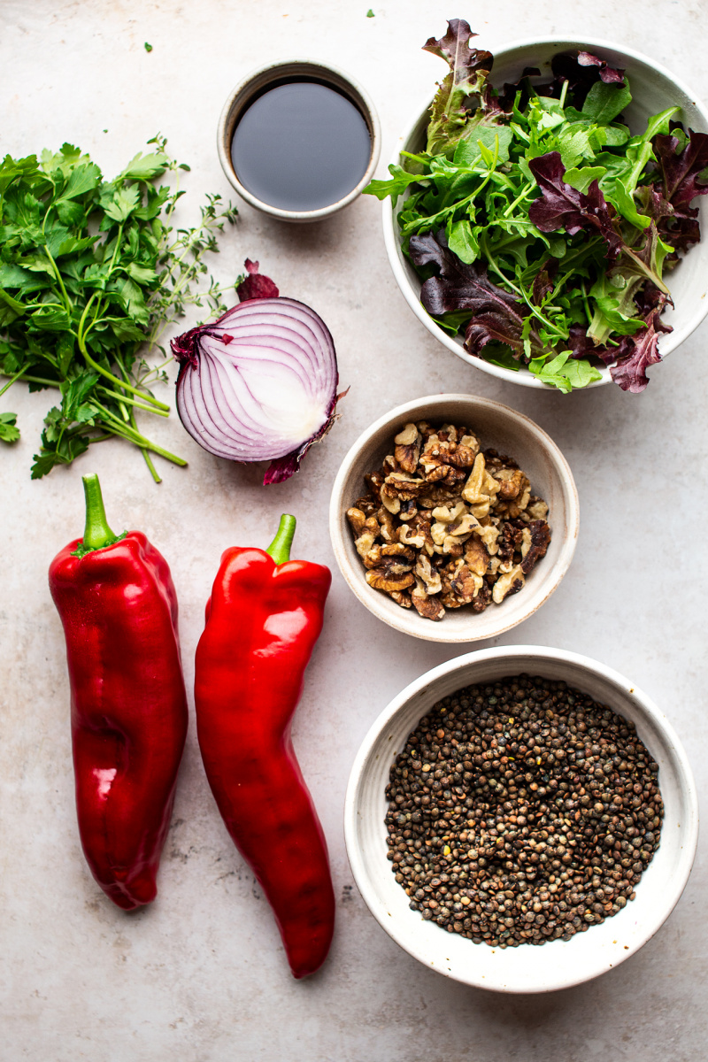 lentil roast pepper salad ingredients