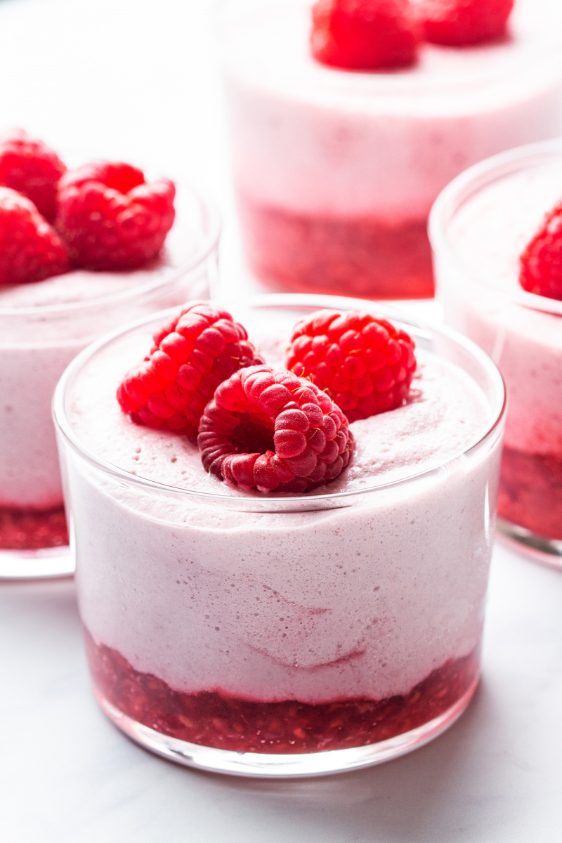 vegan raspberry mousse backlit