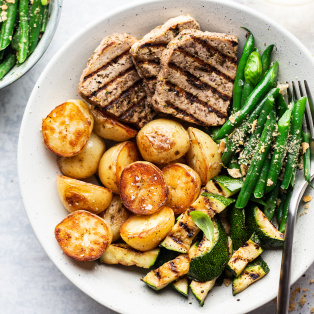basil tofu steak dinner close up