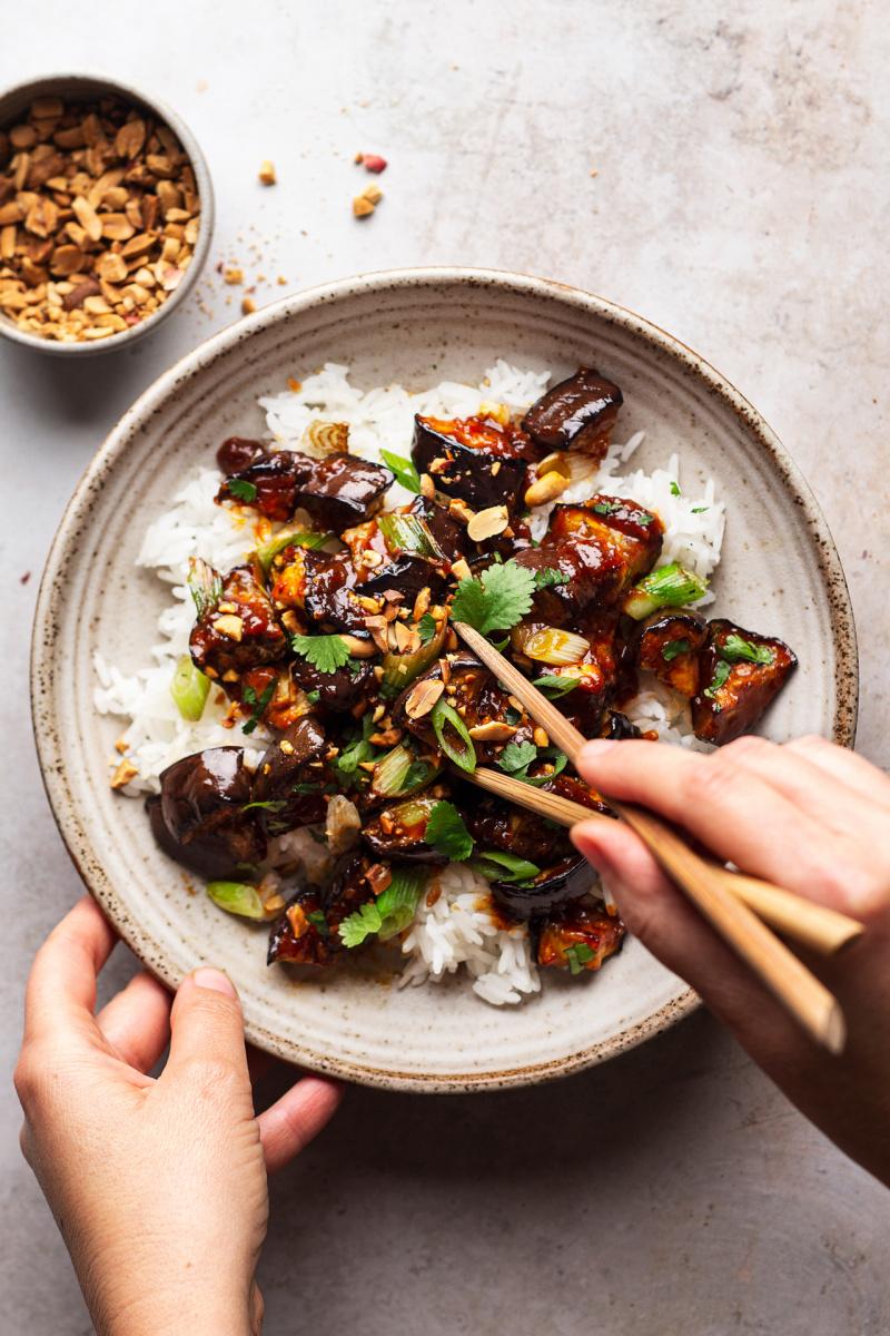 gochujang eggplant chopsticks