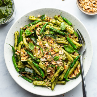 green bean pesto pasta