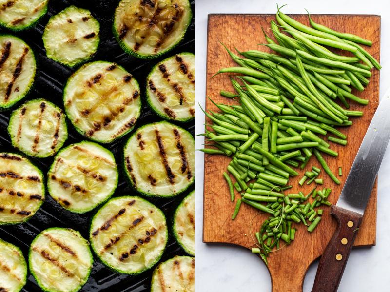 green bean pesto pasta zucchini beans