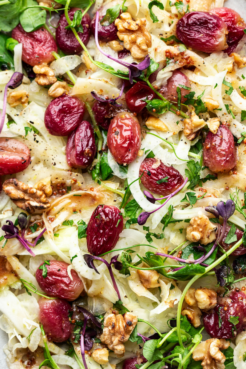 roasted grape fennel salad close up