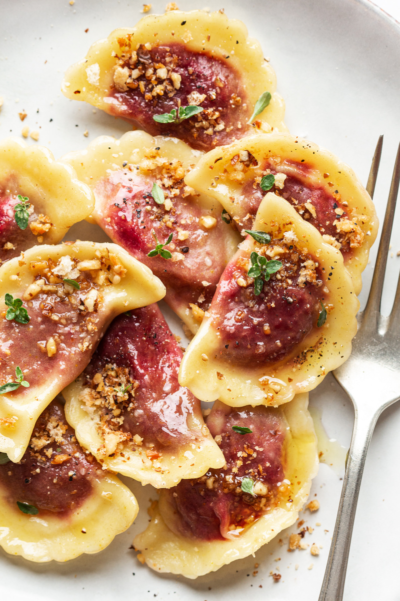 vegan beetroot ravioli close
