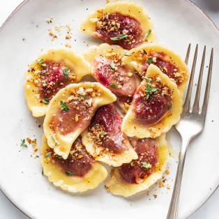vegan beetroot ravioli portion