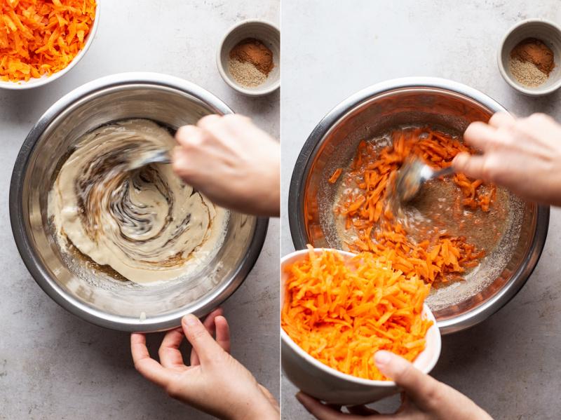 vegan carrot cupcakes making
