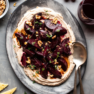 vegan cauliflower mash balsamic beetroots