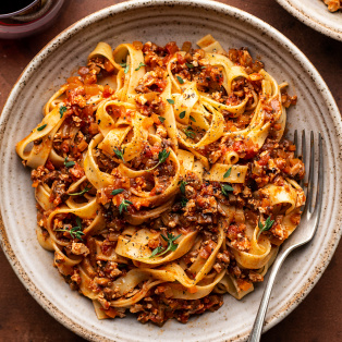 mushroom bolognese close up