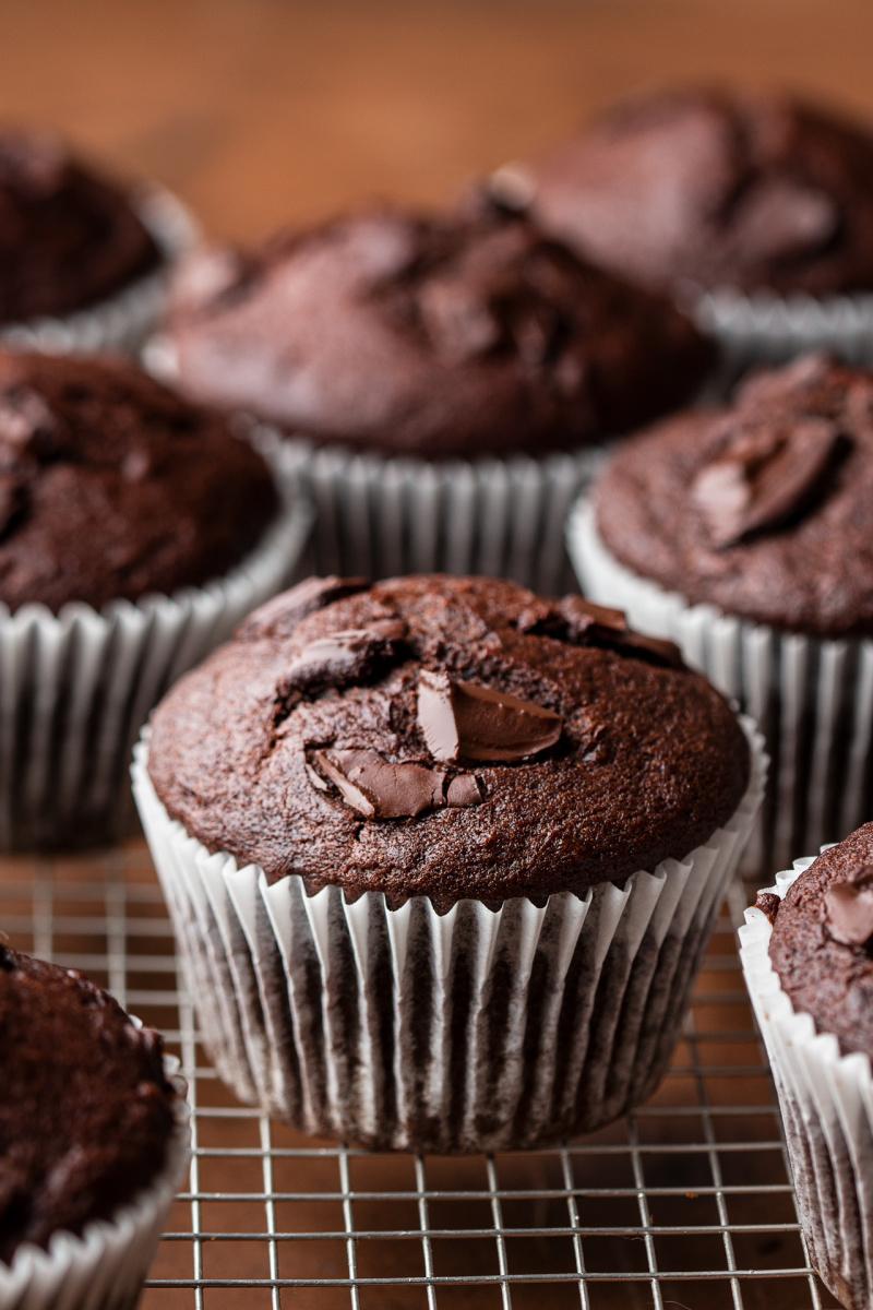 vegan chocolate banana bread muffins top down
