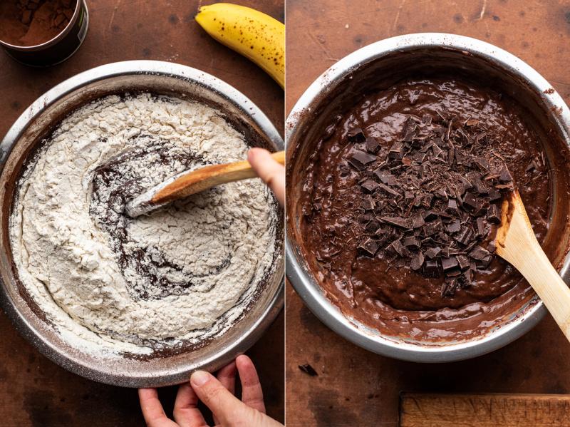 vegan chocolate banana bread muffins batter