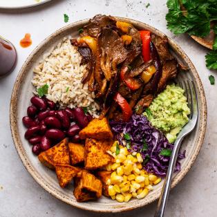 vegan fajita bowls