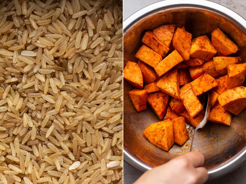 vegan fajita bowls sweet potato rice