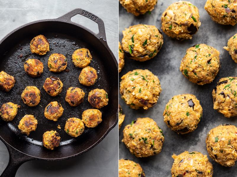 vegan meatball platter raw cooked