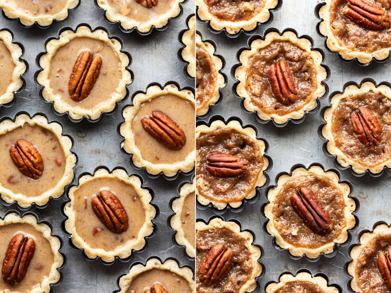 mini pecan pies before after
