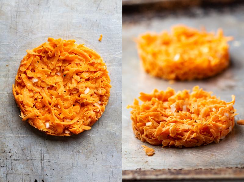 sweet potato hash browns baking