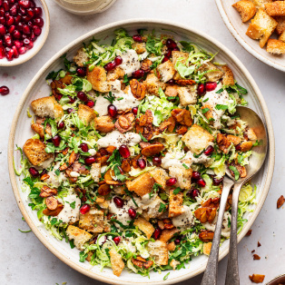 vegan Brussels sprouts Caesar salad