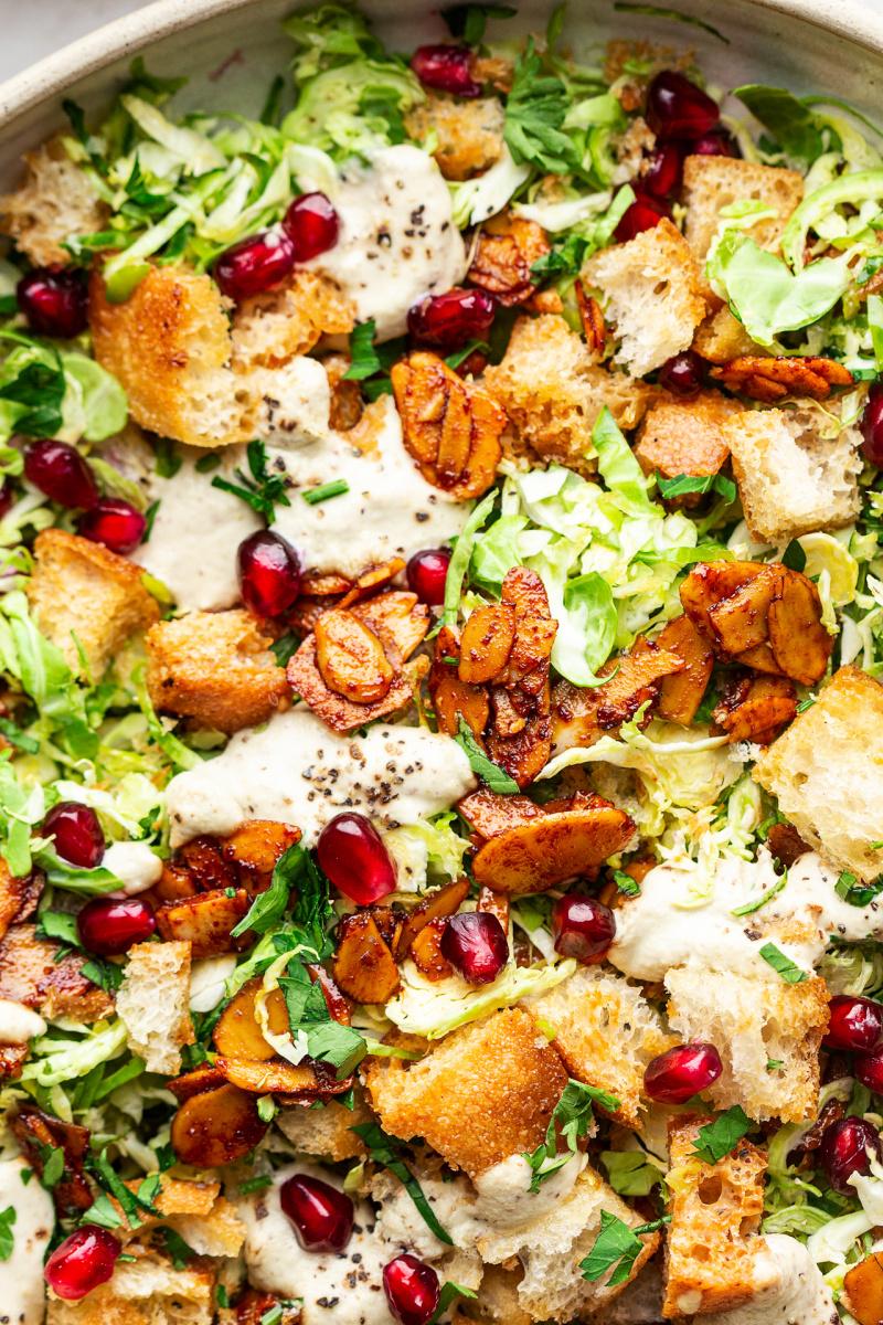 vegan Brussels sprouts Caesar salad macro