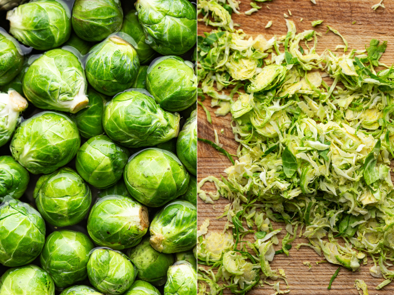 vegan Brussels sprouts Caesar salad sprouts shredded