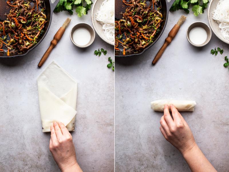 baked vegan spring rolls folding