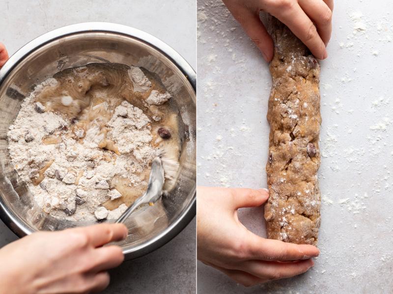 christmas vegan biscotti forming log