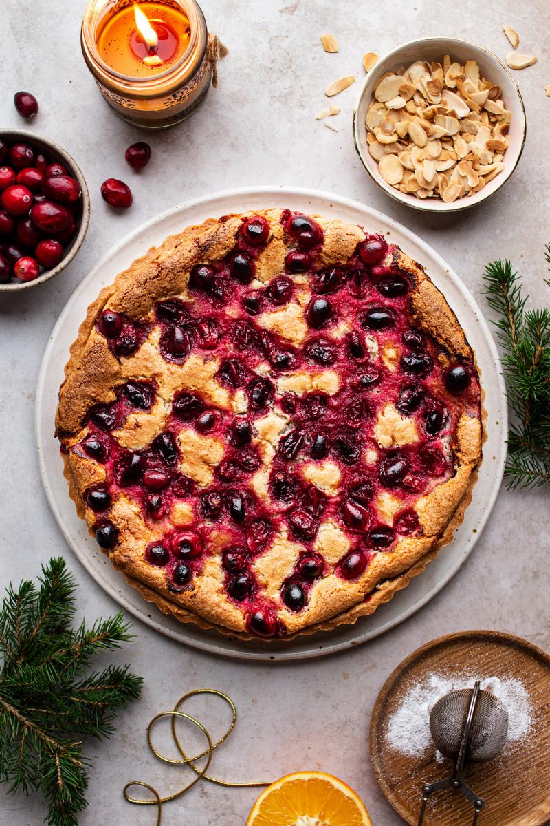 cranberry vegan frangipane tart