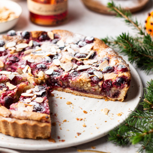 cranberry vegan frangipane tart cross section
