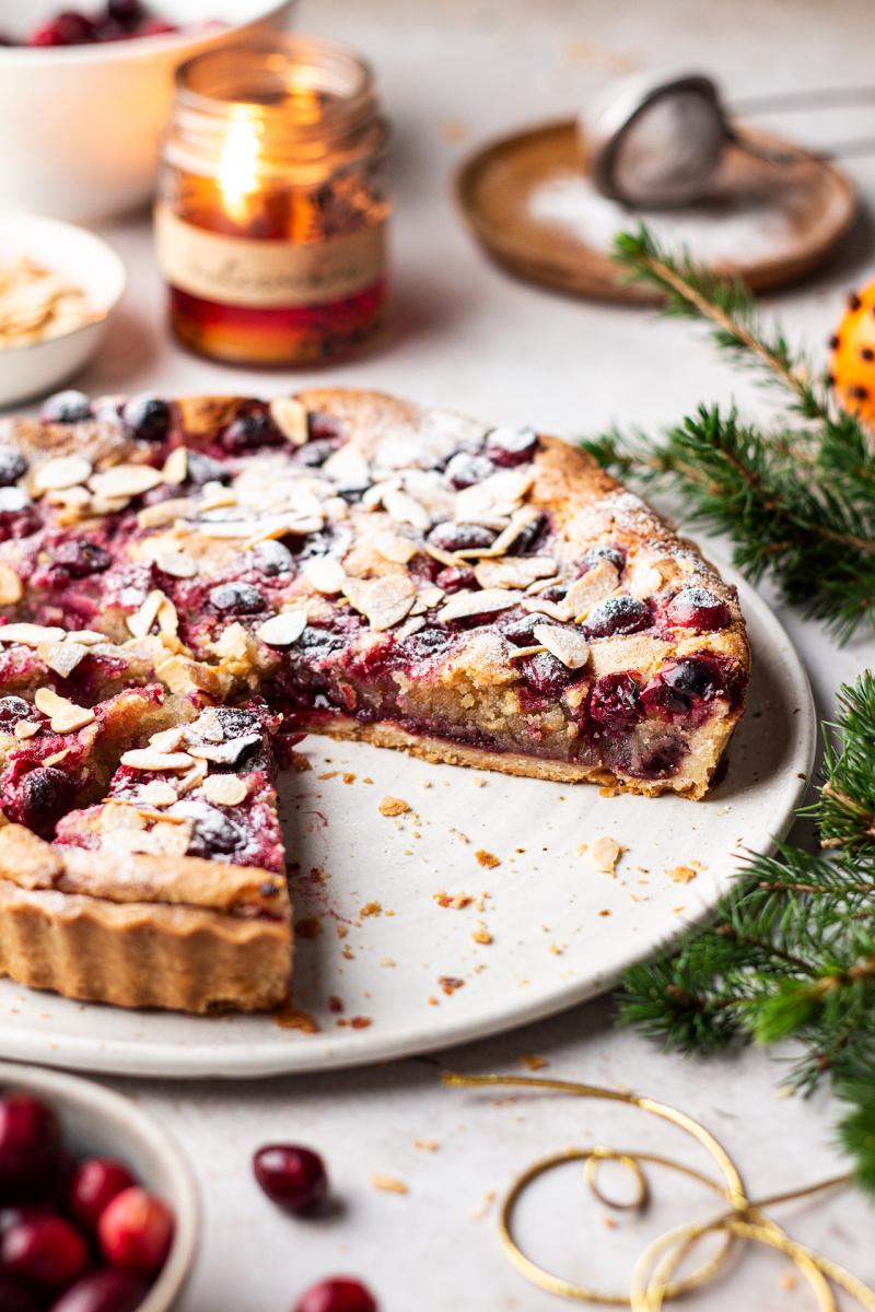 cranberry vegan frangipane tart cross section