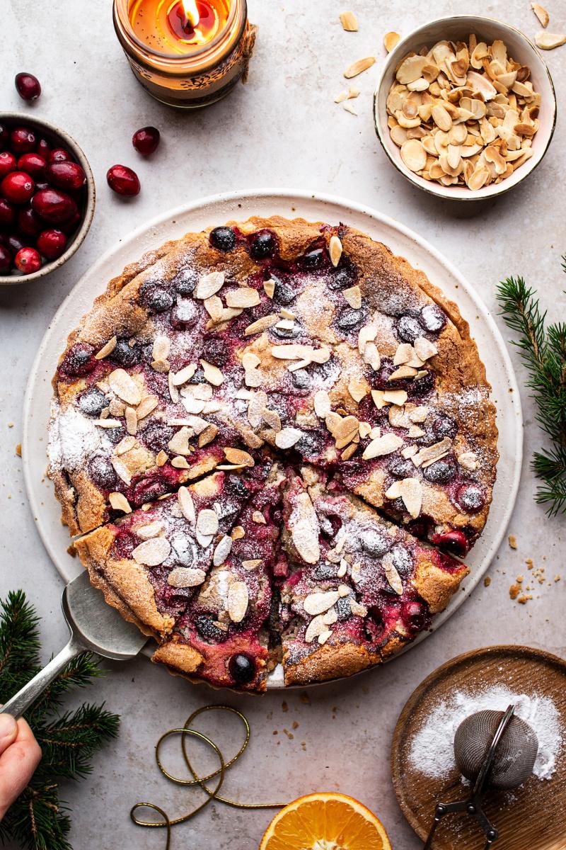 cranberry vegan frangipane tart cut