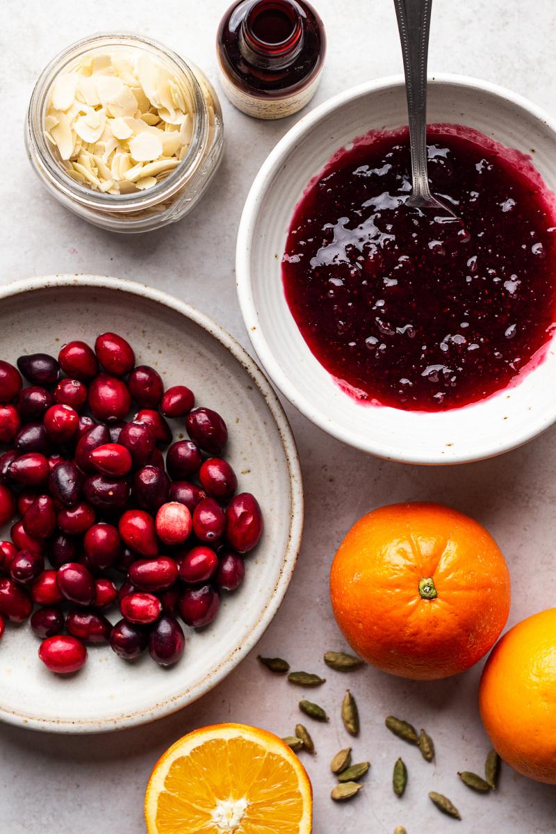 cranberry vegan frangipane tart ingredients