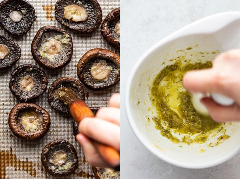 vegan stuffed mushrooms garlic oil