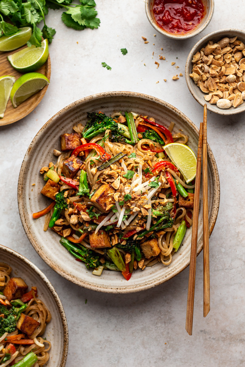 healthier vegan pad thai lunch bowl