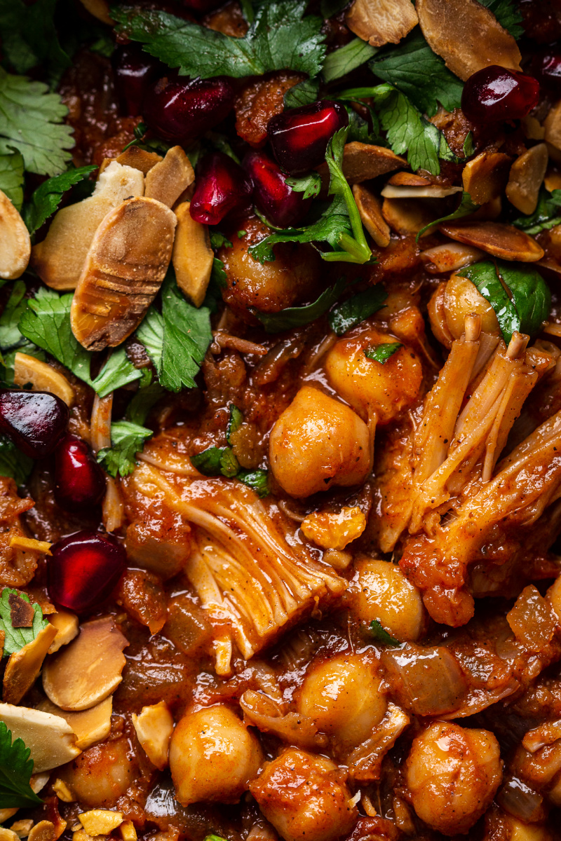vegan jackfruit tagine close up