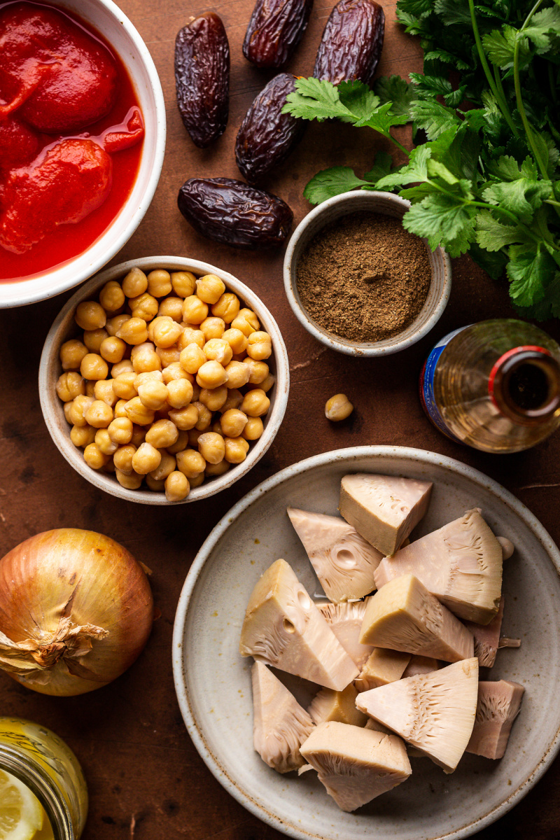vegan jackfruit tagine ingredients