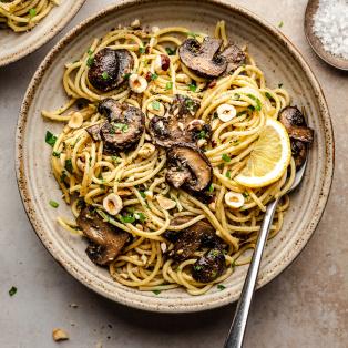 vegan miso mushroom pasta bowl