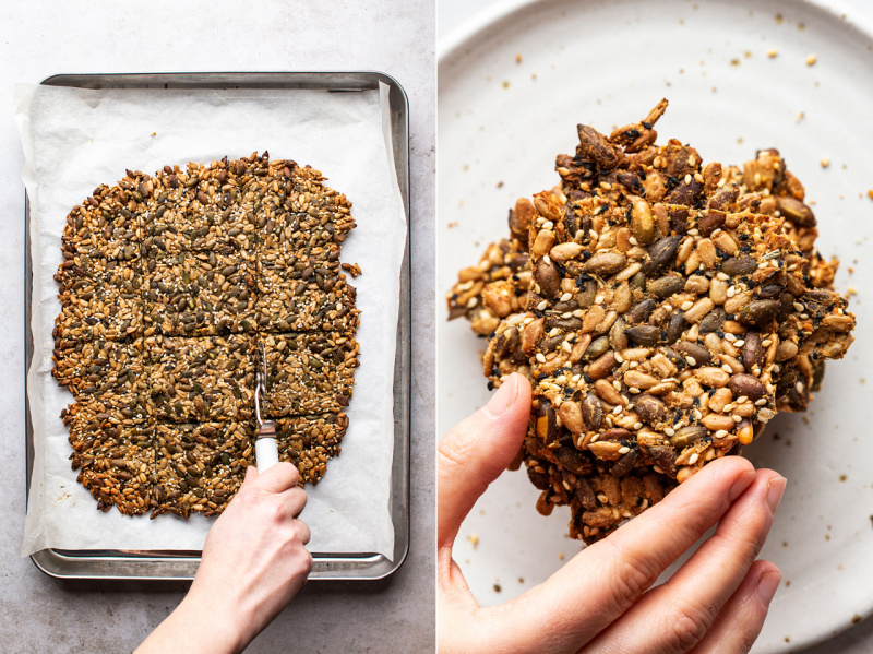 vegan multiseed crackers baked