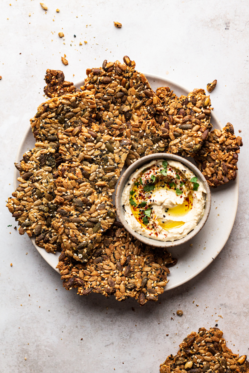vegan multiseed crackers hummus