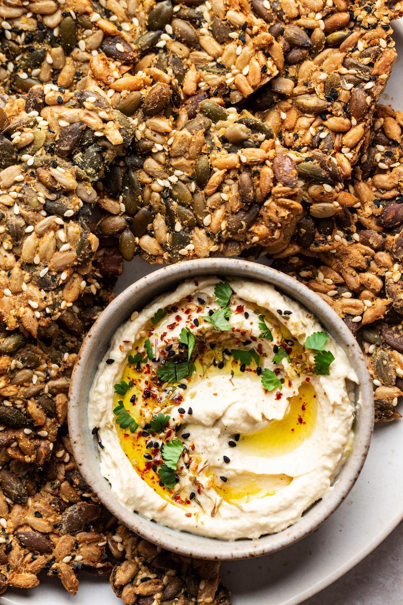 vegan multiseed crackers hummus macro