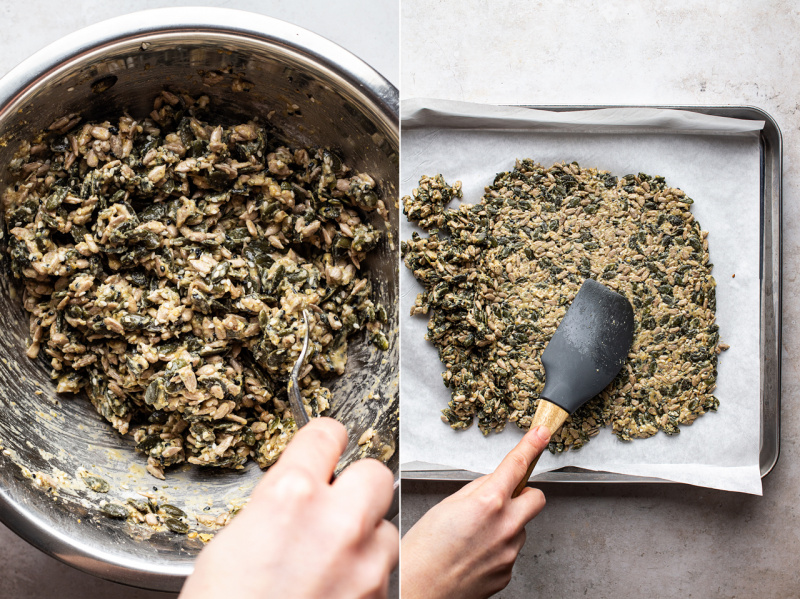 vegan multiseed crackers making