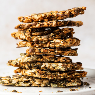 vegan multiseed crackers stack